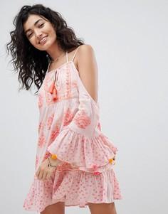 Пляжное платье с расклешенными рукавами South Beach - Розовый