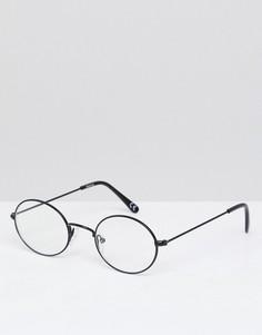 Овальные очки в черной металлической оправе с прозрачными стеклами ASOS - Черный