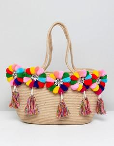 Разноцветная пляжная сумка с помпонами America & Beyond - Мульти