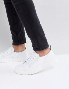 Белые кожаные кроссовки с 6 парами люверсов Dr.Martens Dante - Белый