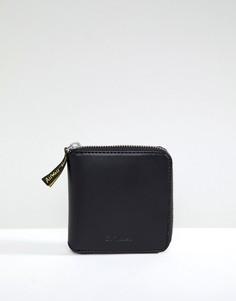 Кожаный бумажник на молнии Dr Martens - Черный
