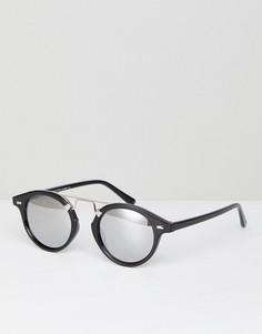 Солнцезащитные круглые очки с серебристыми зеркальными линзами 7x - Черный