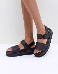 Черные кожаные сандалии Dr Martens Voss - Черный