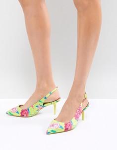Ярко-желтые туфли на каблуке-рюмочке с цветочным принтом и ремешком через пятку ALDO - Зеленый