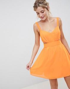 Платье мини на бретелях с вырезами ASOS DESIGN - Оранжевый