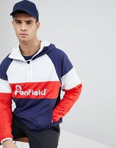 Сине-бело-красная куртка с капюшоном и логотипом Penfield - Темно-синий