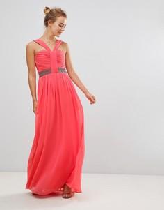 Платье макси халтер с декоративной отделкой Little Mistress - Розовый