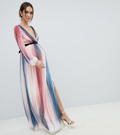 Платье макси в полоску с глубоким вырезом Little Mistress Maternity - Мульти