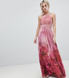 Платье макси с высоким воротом и цветочным принтом Little Mistress Petite - Мульти