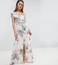Платье макси на пуговицах с цветочным принтом Little Mistress Petite - Мульти