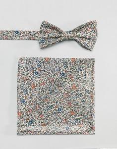 Галстук-бабочка и платок для нагрудного кармана с принтом Gianni Feraud - Мульти