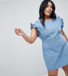 Джинсовое платье с оборками на плечах и V-образным вырезом на спине Urban Bliss Plus - Синий