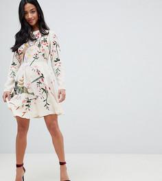 Платье мини с цветочной вышивкой ASOS DESIGN Petite - Розовый