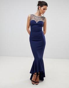 Декорированное платье макси City Goddess - Темно-синий