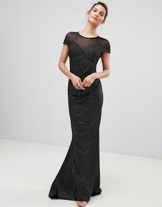 Плиссированное платье макси с блестками и сетчатой отделкой City Goddess - Черный