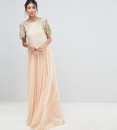 Платье макси с отделкой Virgos Lounge Tall Lena - Розовый