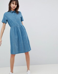 Платье-рубашка из шамбре Selected - Синий