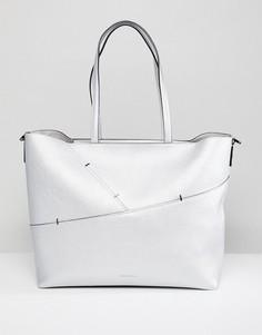 Сумка-тоут с отделкой металлик Calvin Klein - Серебряный