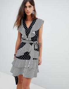 Платье в горошек и полоску с оборками Y.A.S - Мульти
