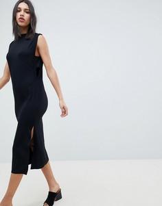 Платье миди со вставками в рубчик ASOS DESIGN - Черный