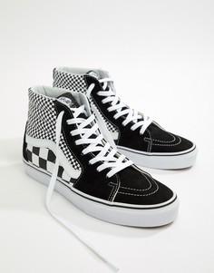 Черные кроссовки с шахматным узором Vans SK8-Hi - Черный