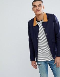 Темно-синяя куртка с вельветовым воротником boohooMAN Trucker - Темно-синий
