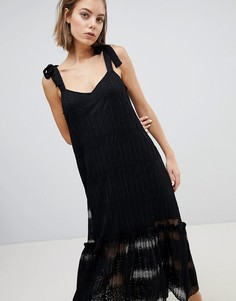 Кружевное ярусное платье миди Sabina Musayev - Черный