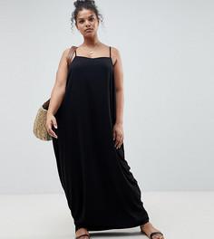 Платье макси в восточном стиле с драпировкой и ремешком на спине ASOS DESIGN Curve - Черный
