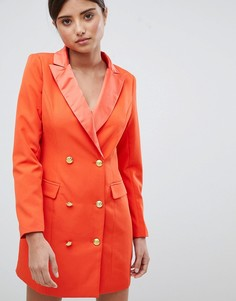 Платье в стиле смокинга с золотистыми пуговицами Missguided - Оранжевый