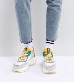 Замшевые массивные кроссовки с желтыми и зелеными элементами Bronx - Белый