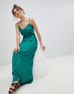 Платье макси с запахом ASOS - Зеленый