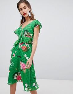 Асимметричное платье миди с цветочным принтом River Island - Зеленый