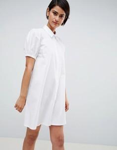 Свободное платье-рубашка мини из хлопка ASOS DESIGN - Белый