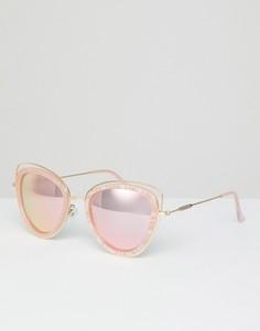 Солнцезащитные очки кошачий глаз в оправе с мраморным эффектом River Island - Розовый