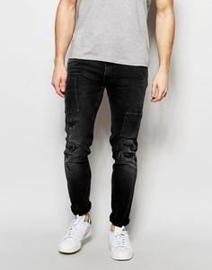 Черные стретчевые джинсы скинни с потертостями Lee Luke - Черный