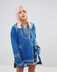 Худи-туника с вышивкой Blank NYC - Синий