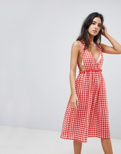 Пляжное платье макси в клетку Lost Ink - Красный