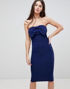 Облегающее платье миди с бантом Ax Paris - Темно-синий