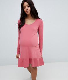 Трикотажное платье с баской Mamalicious - Розовый Mama.Licious