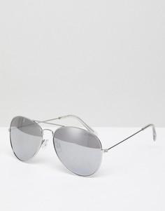 Серебристые солнцезащитные очки-авиаторы New Look - Серебряный