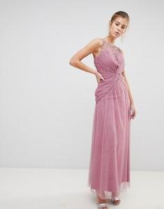 Платье макси с декоративным узлом на талии Little Mistress - Розовый