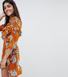 Платье с рукавами 3/4, запахом и цветочным принтом Parisian Tall - Желтый