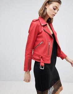 Кожаная куртка с ремнем AllSaints - Красный