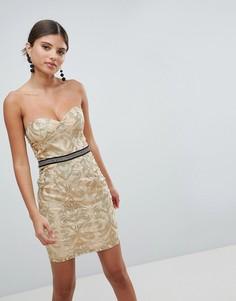 Платье-бандо мини с вышивкой Girl In Mind - Золотой