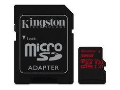 Карта памяти 32Gb - Kingston MicroSDHC U3 UHS-I V30 A1 Canvas React SDCR/32GB с переходником под SD