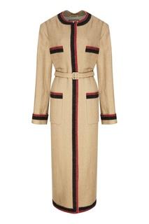Бежевое пальто из хлопка и льна Gucci
