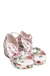 Розовые босоножки с цветочным принтом Dolce&Gabbana Children