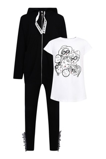 Комплект с футболкой, худи и брюками Simonetta Mini