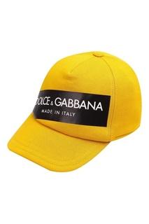 Желтая кепка с логотипом Dolce&Gabbana Children