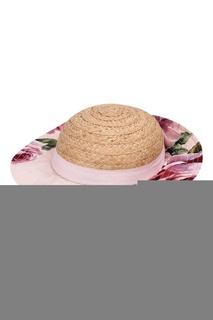 Соломенная шляпа с отделкой из ткани Dolce&Gabbana Children